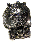 ARMORED TIGER HEAD W CHAIN BIKER RING (Sold by the piece) *