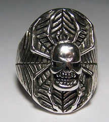 SKULL HEAD SPIDER IN WEB BIKER RING  (Sold by the piece) *-  CLOSEOUT AS LOW AS $ 3.75 EA