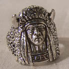 INDIAN MEDICINE MAN WITH HORN HEAD COVER BIKER RING (Sold by the piece) *-CLOSEOUT AS LOW AS $ 3.50 EA