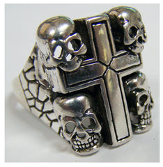 CROSS WITH SKULLS BIKER RING  (Sold by the piece)