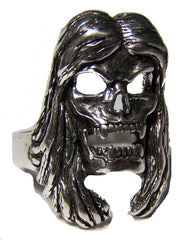 LONG HAIR BIKER SKULL BIKER RING (Sold by the piece)