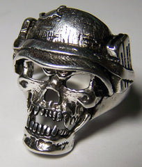 SOLDIER SKULL WITH MILITARY HELMET BIKER RING  (Sold by the piece)