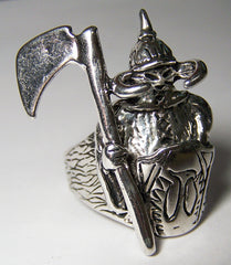 VIKING WARRIOR WITH ARMOR BIKER RING (Sold by the piece)