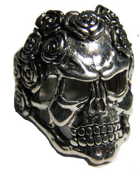 SKULL WITH ROSE HAIR BIKER RING (Sold by the piece)