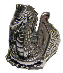 MIDIEVAL DRAGON DELUXE SILVER BIKER RING (Sold by the piece)