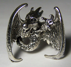 FLYING DRAGON W WINGS DELUXE BIKER RING  (Sold by the piece) ** CLOSEOUT NOW $ 3.75 EA