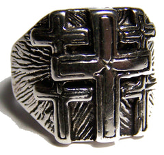 MULTIPLE CROSS DELUXE BIKER RING  (Sold by the piece)