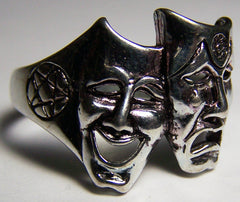 THEATRE MASKS HAPPY SAD BIKER RING (Sold by the piece)