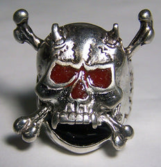 RED EYES SKULL WITH BONES CROSSED BIKER RING (Sold by the piece) *