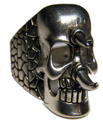 SPIKED SKULL FACE DELUXE BIKER RING  (Sold by the piece) *
