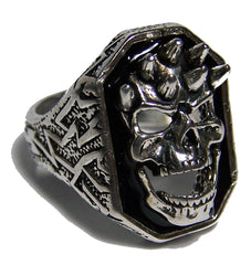 SMILING SKULL HEAD W SPIKES BIKER RING  (Sold by the piece) *