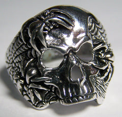SKULL WITH SPIDERS & WEBS DELUXE BIKER RING ( sold by the piece )