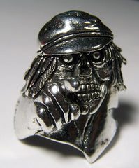 SKELETON POINTING WITH HAT BIKER RING  (Sold by the piece)