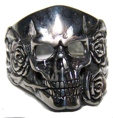 SKULL HEAD AND ROSES BIKER RING (Sold by the piece) *