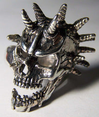 MULTI SPIKE SKULL HEAD DELUXE BIKER RING (Sold by the piece) *
