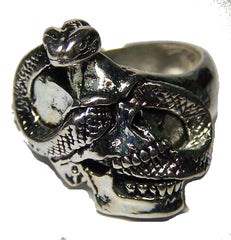 SNAKE IN SKULL BIKER RING  (Sold by the piece) *