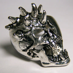 SCREAMING SPIKED SKULL HEAD DELUXE BIKER RING  (Sold by the piece) *
