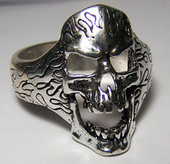 SKKULL WITH FLAMES BIKER RING  (Sold by the piece)