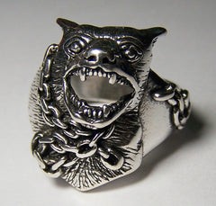 CHAINED BULL DOG BIKER RING (Sold by the piece) CLOSEOUT 3.75 EA