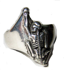 CRAWLING UP SKELETON BIKER RING  (Sold by the piece)