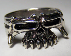HALF TRIBAL SKULL BIKER RING  (Sold by the piece) * *-  CLOSEOUT AS LOW AS $ 2.50 EA