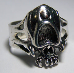 OPEN EYES SKULL HEAD BIKER RING  (Sold by the piece)  * CLOSEOUT AS LOW AS $ 3.50 EA