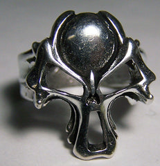 BALL HEAD SKULL DELUXE SILVER BIKER RING (Sold by the piece) *
