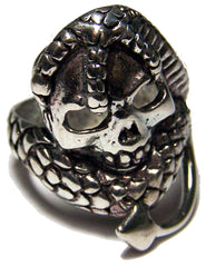 SERPENT WRAPPED AROUND SKULL HEAD BIKER RING (Sold by the piece)