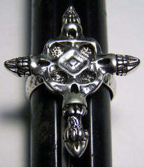 FOUR SKULL CROSS DELUXE BIKER RING (Sold by the piece) *