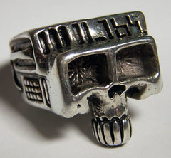 RETRO ROBOT SKULL HEAD DELUXE BIKER RING  (Sold by the piece) *-  CLOSEOUT AS LOW AS $ 2.95 EA