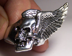 FLYING SKULL HEAD WITH WINGS DELUXE BIKER RING (Sold by the piece)