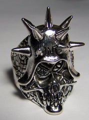 MEAN SKULL WITH SPIKED HELMET BIKER RING (Sold by the piece) *