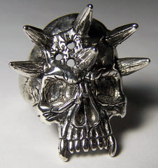 SPIKED EVIL SKULL HEAD BIKER RING (Sold by the piece) *