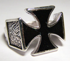 INLAYED BLACK IRON CROSS BIKER RING  (Sold by the piece) *