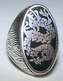 INLAYED CHINESE DRAGON SILVER DELUXE BIKER RING (Sold by the piece) *