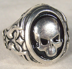 BIKER RING SKULL BLACK BACK (Sold by the piece)