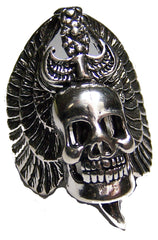 SKULL HEAD WINGS & DAGGER BIKER RING (Sold by the piece)