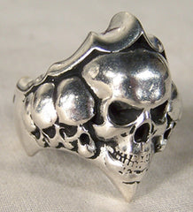 STACKED SKULLS DELUXE SILVER BIKER RING (Sold by the piece)
