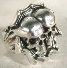 TWIN SKULLS BIKER RING (Sold by the piece)