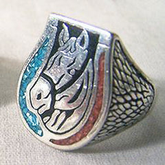 INLAYED HORSE HEAD W HORSESHOE BIKER RING (Sold by the piece)