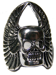 SKULL HEAD WITH WINGS BIKER RING (Sold by the piece)