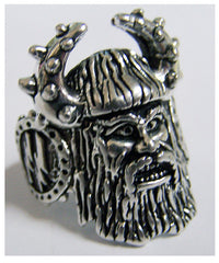 VIKING HEAD WITH HORN HAT BIKER RING (Sold by the piece)