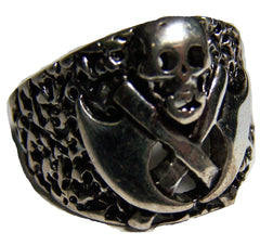 SKULL WITH CROSSED AXES BIKER RING (Sold by the piece) *