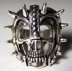 SKULL WITH SPIKED FACE HELMET BIKER RING  (Sold by the piece) *