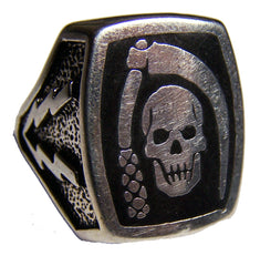SKULL & SICKLE LIGHTNING BOLTS DELUXE BIKER RING (Sold by the piece)