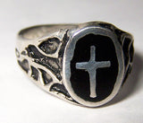 BLACK INLAYED CROSS  SILVER DELUXE BIKER RING (Sold by the piece) * *- CLOSEOUT $ 3.75 EA