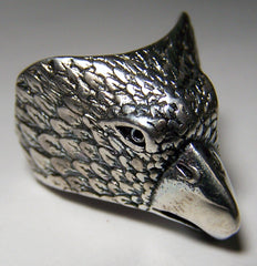 EAGLE HEAD DELUXE SILVER BIKER RING  (Sold by the piece) *