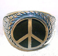 ROUND PEACE SIGN DELUXE SILVER BIKER RING (Sold by the piece) *-  CLOSEOUT AS LOW AS $ 3.50 EA