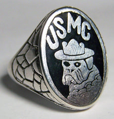 USMC BULLDOG US MARINES SILVER DELUXE BIKER RING (Sold by the piece) *