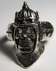 MIDIEVAL KNIGHT SKULL IN ARMOR DELUXE BIKER RING (Sold by the piece)